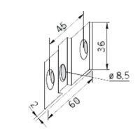 Accesoriu placa fixare perete PT30 UNIVERSAL 10 mm